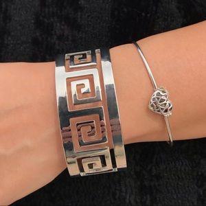 Y2K Silver Metal Aztec Bangle